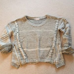Grey Knit Sweater with Side Zippers